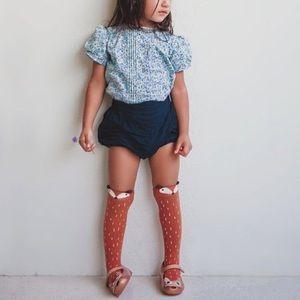 Little girls fox knee high sock